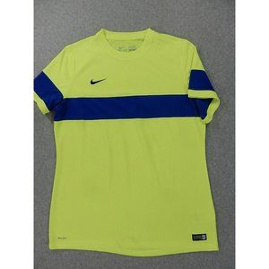 Nike Athletic Fit Single Stipe Crew Running Workout Shirt (Mens XL) Neon/Blue